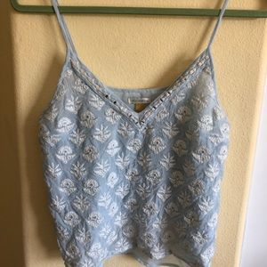 Liefsdottir Size 6 blue/White embroidered Cami